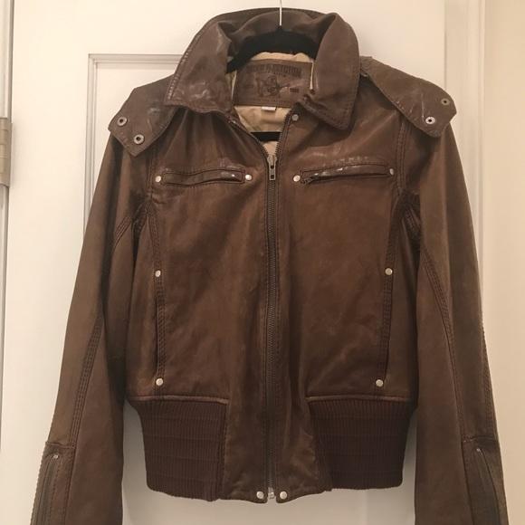 True Religion Jackets & Blazers - True Religion Brown Leather Jacket